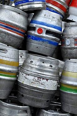 Piled-up beer barrels