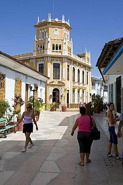Artfully decorated old building in Sancti-Spiritus, Sancti-Spiritus province, Cuba, Latin America