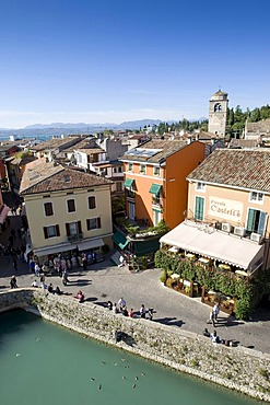 Panoramic view over the historic centre of Sirmione with the Santa Maria Maggiore Church, facing north, Lake Garda, Lago di Garda, Lombardy, Italy, Europe