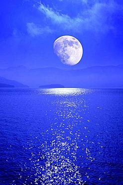 Moon over the Walchensee lake, Bavaria, Germany, Europe