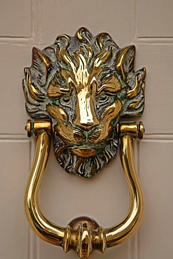 Lion head as a door knocker, Rye, Sussex, England, Europe