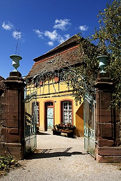 Historic Alsation electricity substation with entrance gate, eco-museum, Ungersheim, Alsace, France, Europe