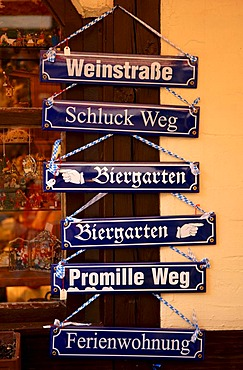 Street- and souvenir signs in the Handwerkerhof or Artisan Courtyard in Nuremberg, Bavaria, Germany, Europe