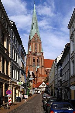 View of the Schweriner Dom or Schwerin Cathedral, Schwerin, Mecklenburg-Western Pomerania, Germany, Europe