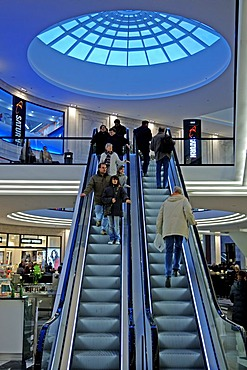 Escalator with under a dome light in a shopping mall, Muenster, Westphalia, Germany, Europe