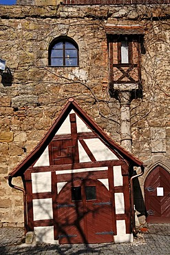 Old store house and toilet house, in the inner yard of a castle ruin, Burgthann, Middle Franconia, Bavaria, Germany, Europe