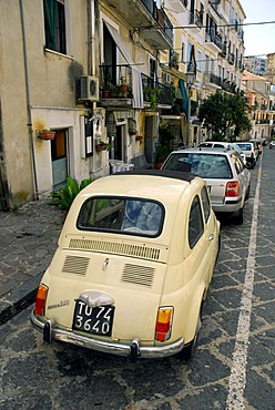 Fiat 500 in a residential area, Pizzo, Vibo Valentia, Calabria, South Italy, Italy, Europe