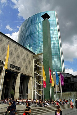 World Trade Center, WTC, a tower with a glass facade at the Beursplein, in front of dark clouds, Rotterdam, South Holland, the Netherlands, Europe