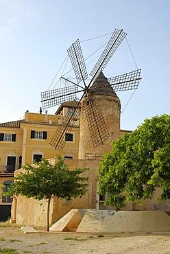 Traditional windmill in the Santa Catalina district, Palma de Mallorca, Mallorca, Balearic Islands, Spain, Europe