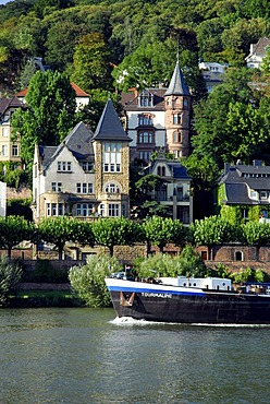 Inland navigation on Neckar River, elegant residential area at the hillocked river side in the back, Heidelberg, Neckar Valley, Baden-Wuerttemberg, Germany, Europe