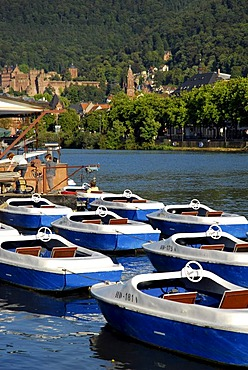 Boat rental on towpath with view of castle and old city, Neckar River, Heidelberg, Neckar Valley, Baden-Wuerttemberg, Germany, Europe