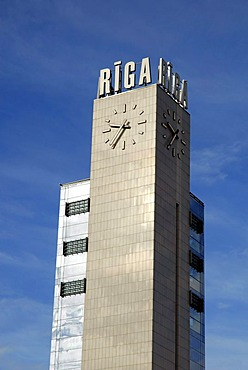 Clock tower and logo at the Central Station, Rigas Centrala Stacija, Riga, Latvia, Latvija, Baltic States, Northeast Europe
