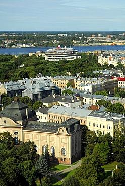 View from the Skyline Bar, Reval Hotel Latvija on the Esplanade, Latvium National Museum of Arts, makslas muzejs Art Museum and Kronvalda Park, Riga, Latvia, Latvija, Baltic States, Northeast Europe