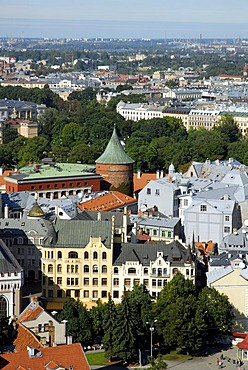View from St. Peter's Church, Sv. Petera baznica, over the Pulvertornis, Powder Tower, in the historic town centre, Vecriga, Riga, Latvia, Baltic states, Northeastern Europe