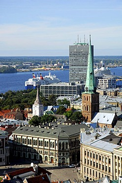 View from St. Peter's Church, Sv. Petera baznica, over the Doma laukums square in the historic town centre, Vecriga, the Parex Banka Bank and the Daugava River, Riga, Latvia, Baltic states, Northeastern Europe