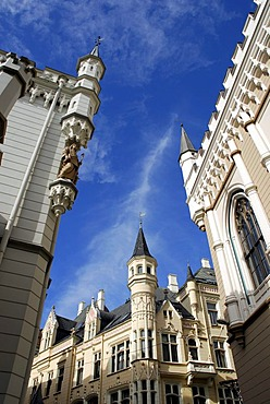 Small guild, great guild, Maza gilde, Liela gilde, buildings in a Gothic Revivalist style in Amatu iela street in the historic town centre, Vecriga, Riga, Latvia, Baltic states, Northeastern Europe
