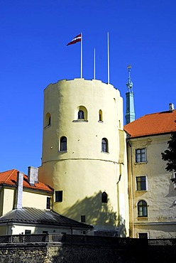 Tower of the Riga Castle, Rigas pils, the residence of the Latvian government and the Latvian President in the historic town centre, Vecriga, Riga, Latvia, Baltic states, Northeastern Europe
