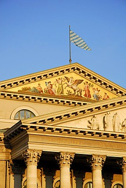 National Theatre, neoclassical facade and pillars, Bavarian State Opera House at Max Joseph Square, Altstadt, Old Town, Munich, Upper Bavaria, Bavaria, Germany, Europe