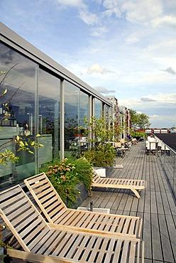 Hotel Bayerischer Hof at Promenadeplatz square, roof terrace to the Blue Spa area, city center, Munich, Upper Bavaria, Bavaria, Germany, Europe