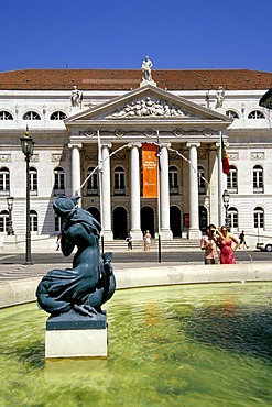 Teatro Nacional Dona Maria II, classicist national theatre on Rossio Square, in the front a fountain with sculptures on Rossio Square, Praca de Dom Pedro IV, old city, Lisbon, Portugal, Europe