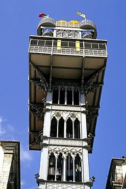 Elevador de Santa Justa, an iron construction in the city centre, has an elevator which connects Baixa and Bairro Alto, historic centre of Lisbon, Lisboa, Portugal, Europe