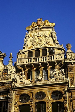 Facade decoration, Baroque house on the Grote Markt, Grand Place, Brussels, Belgium, Benelux, Europe
