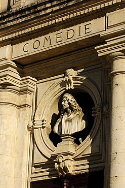 Comedie, lettering on the theatre, Orange, Provence, France, Europe