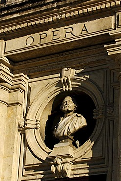Opera, lettering on the theatre, Orange, Provence, France, Europe