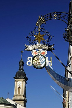 Hofbraeuhaus Brewery shop-front sign, Traunstein town square, Chiemgau, Bavaria, Germany, Europe