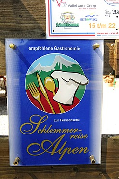 Sign for Schlemmerreise Alpen or Alpine Gluttony Tour, Windbeutelgraefin Cafe, Ruhpolding, Chiemgau, Bavaria, Germany, Europe