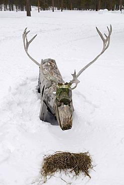 Reindeer made of wood, at Joiku's Kota, Ivalo, Lapland, Finland, Europe
