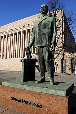 Statue of Stahlberg in front of Parliament, Helsinki, Finland, Europe