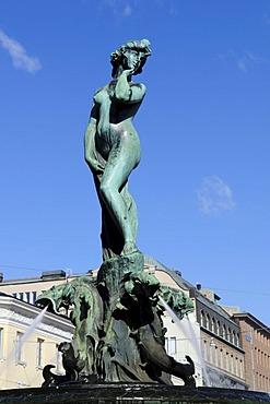 Sculpture of a woman, Havis Amanda fountain, Esplanade, Helsinki, Finland, Europe