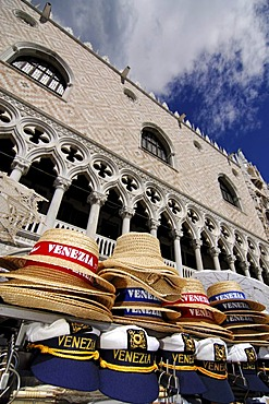 Souvenir stall in front of Doge's Palace, Venice, Veneto, Italy, Europe