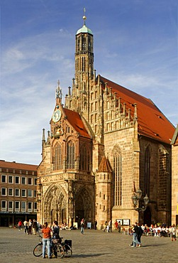 Frauenkirche Church, main market, historic city centre, Nuremberg, Middle Franconia, Bavaria, Germany, Europe