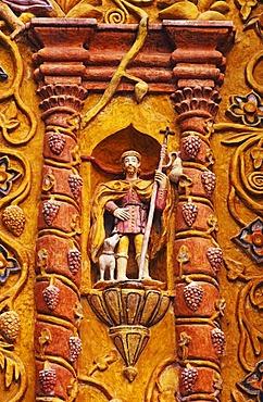 Figure of a saint on the Landa Mission Church in the Sierra Gorda, Huasteca, Mexico, North America