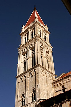 Steeple of the Cathedral of St. Lawrence, Sveti Lovro, Trogir, Croatia, Europe