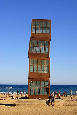 Homenatge a la Barceloneta (Homage an Barceloneta) sculpture by Rebecca Horn, German performance and installation artist, on Platja (Beach) de Sant Sebastia in Barcelona, Catalonia, Spain, Europe