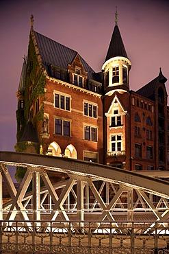 Speicherstadt, old warehouse district, Hamburg, Germany, Europe