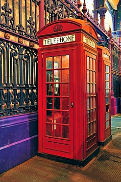 A pair of red telephone boxes at the Smithfield meat market, London, United Kingdom, Europe
