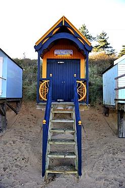 Beach hut at Wells-Next-the-Sea, North Norfolk coast, England, United Kingdom, Europe