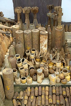 Collection of old rusty American bombs, dropped on Laos during the 2nd Indochina war by the US Airforce, Vietnam war, Phonsavan, Xieng Khuang Province, Laos, South East Asia
