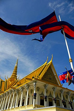 Blowing national flags at the Throne Hall, Royal Palace, Phnom Penh, Cambodia, Southeast Asia