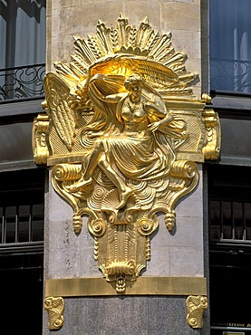 Gilded statue on the facade of the Commerz bank, Thomaskirchhof, Leipzig, Saxony, Germany, Europe