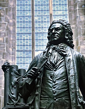 Johann Sebastian Bach monument at Thomas Church, Leipzig music trail, Leipzig, Saxony, Germany, Europe
