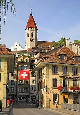 Historic city centre and the City Church of Thun, Bernese Oberland, Bernese Highlands, Switzerland, Europe