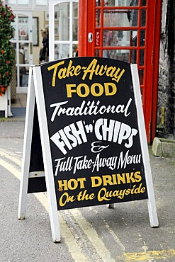 The Old Custom House restaurant sign, Padstow, Cornwall, South England, Great Britain, Europe