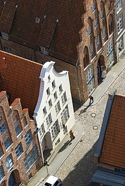 Bird's eye view to the streets of the historic city of Luebeck, Schleswig-Holstein, Germany, Europe