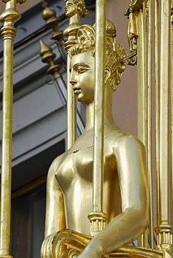 "Statue of Princess Turandot of the Carlo Gozzi play ""Princess Turandot"", in front of Vakhtangov Theater on Arbat Street, Moscow, Russia"