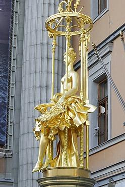 "Statue of Princess Turandot of the Carlo Gozzi play ""Princess Turandot"", in front of Vakhtangov Theater on Arbat Street, Moscow, Russia"
